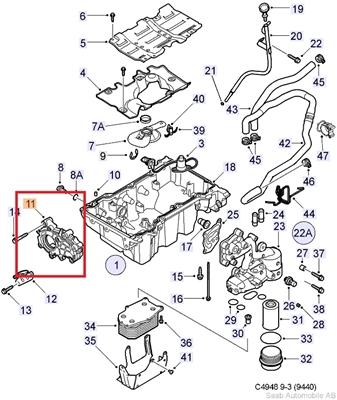 Lubrication System Oil Pan Oil Filter 6 Cylinder