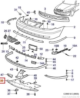 saab oem 9 5 lower engine cover 2002 2009 35