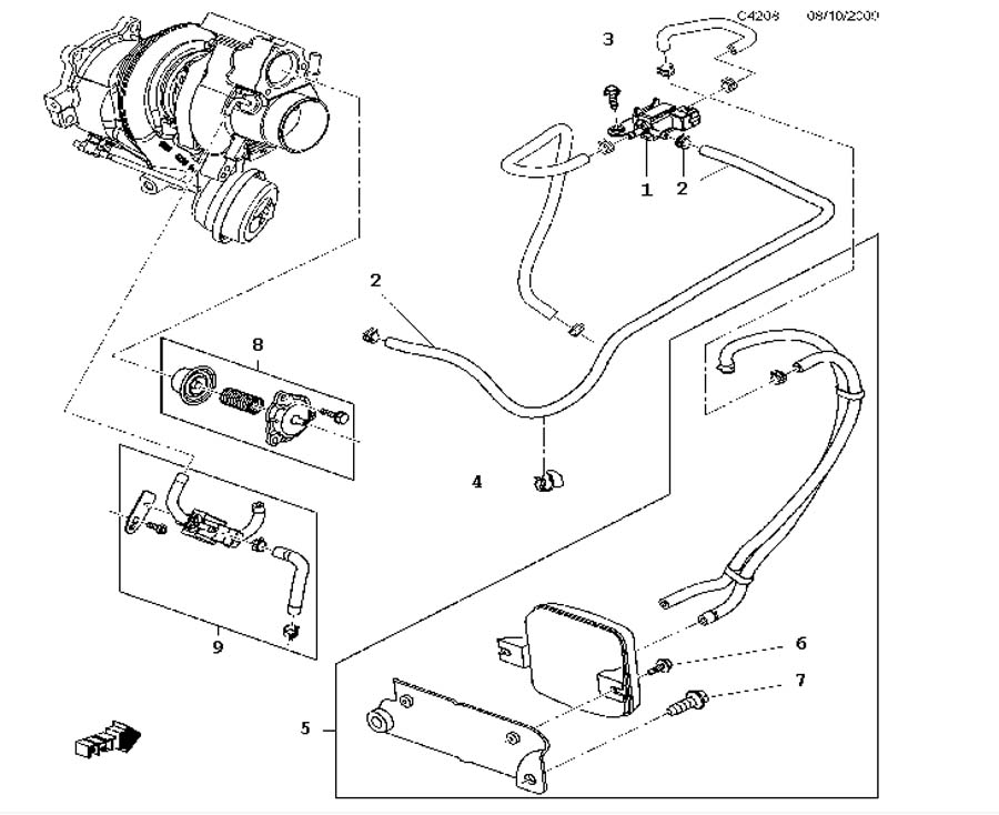 supercharging system  vacuum system a20nht 4 cylinder