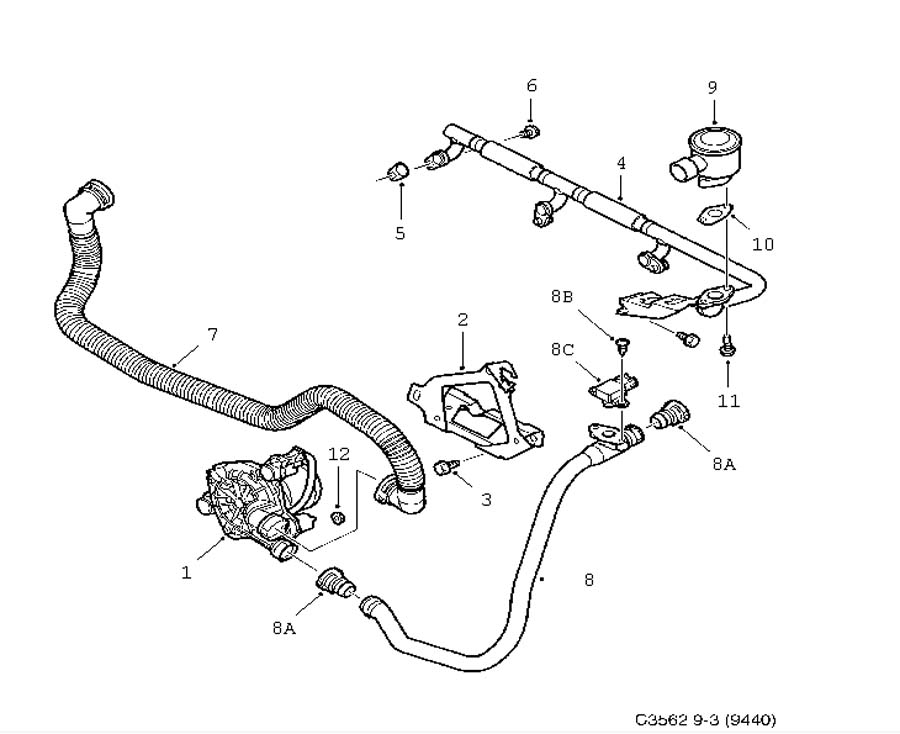 2000 Saab 9 3 Exhaust System Diagram in addition 7562515 also 55565766 also Hose Crankcase Breather Saab 9 5 04 10 also Gasket Gearbox Saab 900 9 3 9 5. on saab 900 turbo exhaust