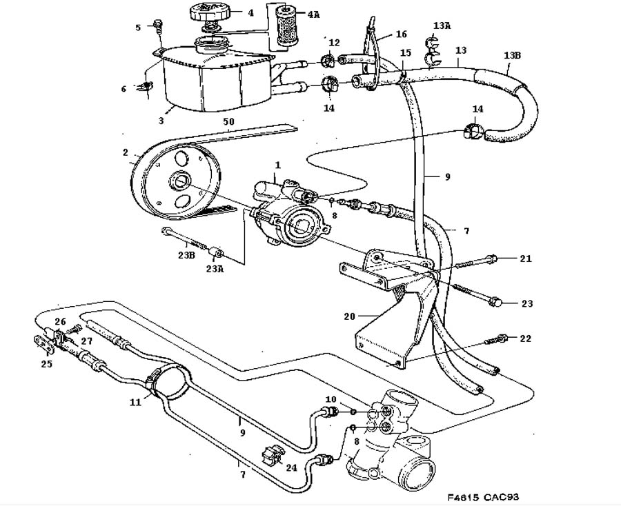 service manual  1986 saab 9000 hydraulic fan pump removal