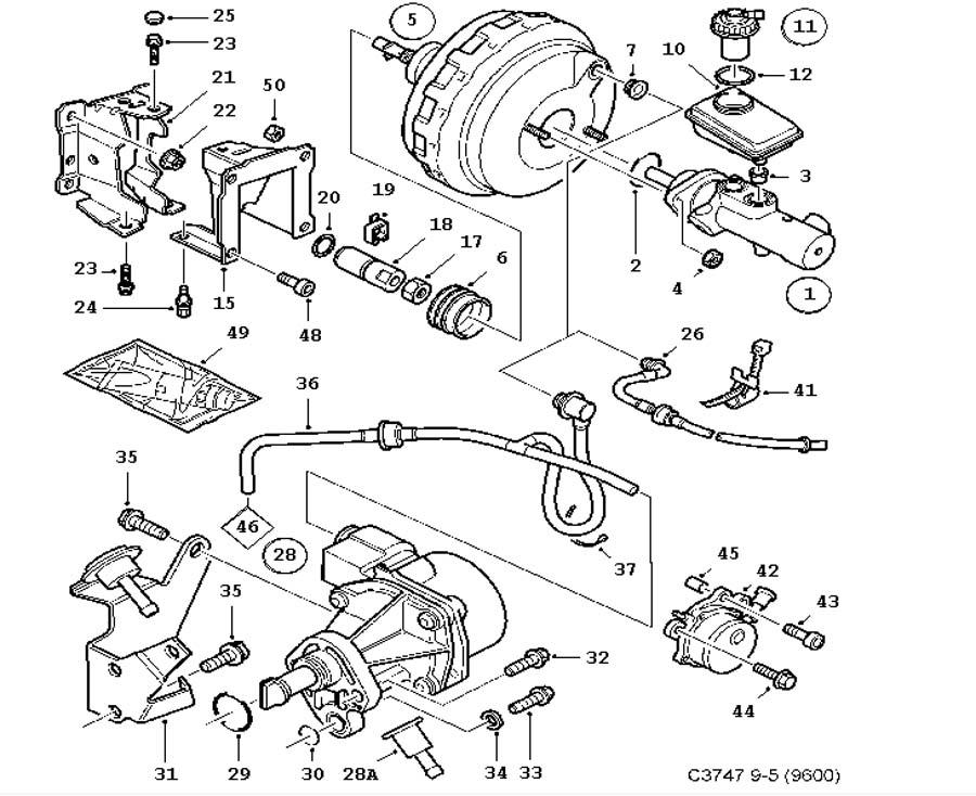 footbrake system  master cylinder  vacuum brake booster