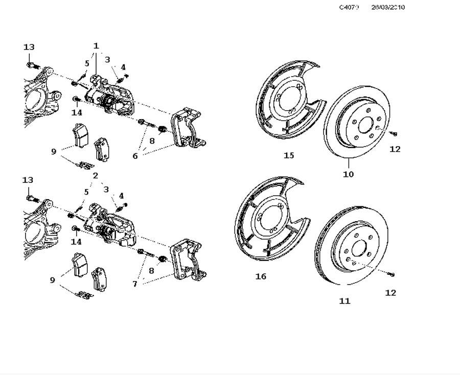 brake pad kit (9-5 1998-2011)[13338368]