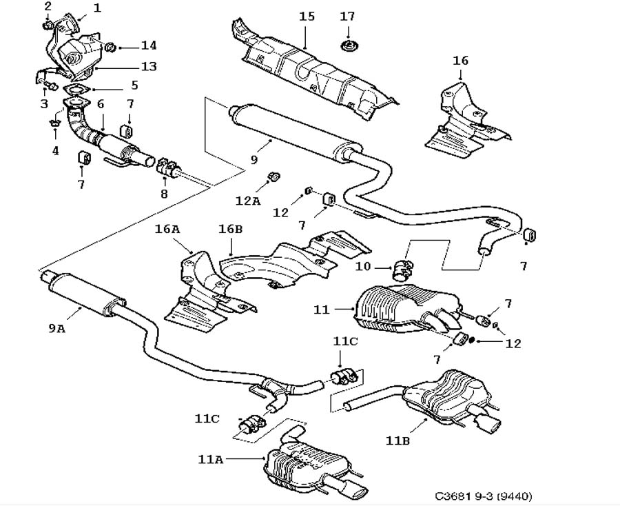 inlet and exhaust system  exhaust system 4 cylinder