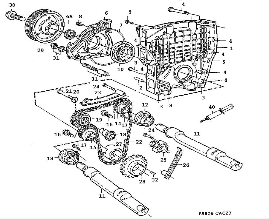 engine body  transmission  balancer shafts 4 cylinder