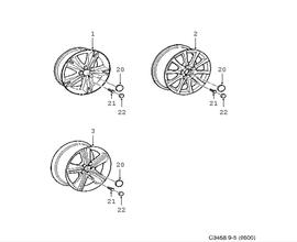 Light alloy wheel.(9-5 1998-2011)[12771532]